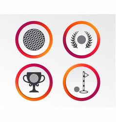 golf ball icons laurel wreath award symbol vector image