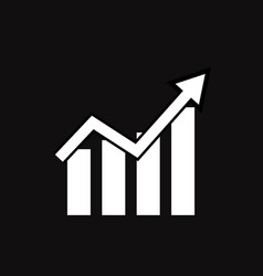 graph icon on black background flat style line vector image