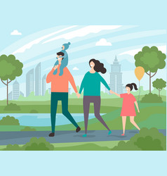 happy family walking background of vector image
