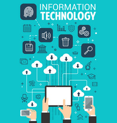 information technology web internet poster vector image