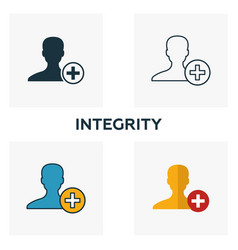 Integrity icon set four elements in different vector