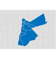 Jordan map - high detailed blue map with vector