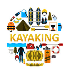 kayaking icon set isolated vector image