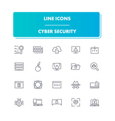 Line icons set cyber security vector