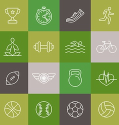 linear sport and fitness icons and signs vector image
