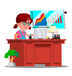 little boss girl serious child in big glasses vector image