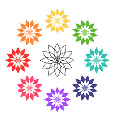 lotus flower colorful icon vector image