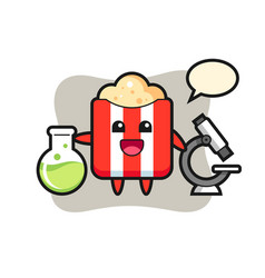 Mascot character popcorn as a scientist vector