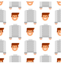 men portrait seamless pattern friendship character vector image