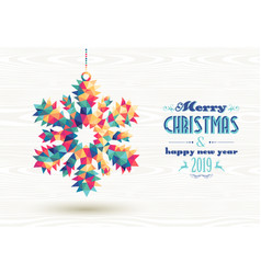Merry christmas happy new year 2019 triangle snow vector