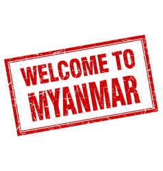 Myanmar red square grunge welcome isolated stamp vector