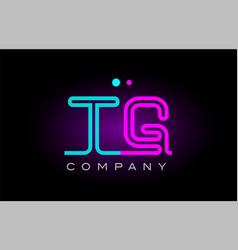 Neon lights alphabet tg t g letter logo icon vector
