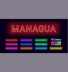 Neon name of managua city vector