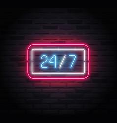Neon sign - 24-7 open vector