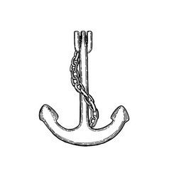 old anchor logo icon ink pen sketch nautical vector image