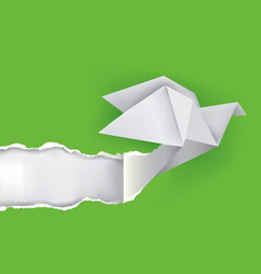 origami dove ripping green paper vector image