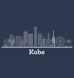 Outline kobe japan city skyline with white vector