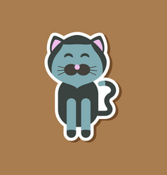 paper sticker on stylish background pet cat vector image