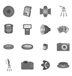 Photo studio icons set monochrome style vector