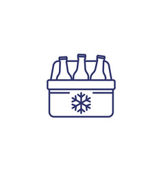Portable cooler with beer line icon vector