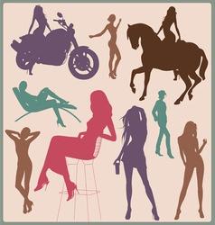 Pretty woman silhouettes vector