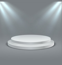 Round illuminated podium stage podium scene vector