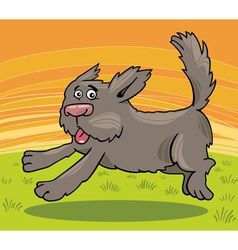 running shaggy dog cartoon vector image
