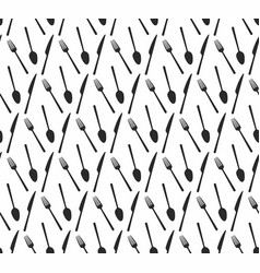 seamless pattern fork spoon knife vector image