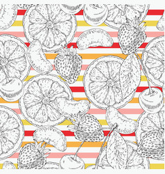 seamless pattern with fruits and stripes vector image