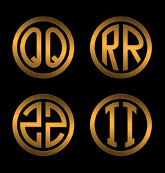 set 1 templates from two capital golden letters vector image