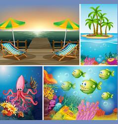 set beach and ocean scene vector image