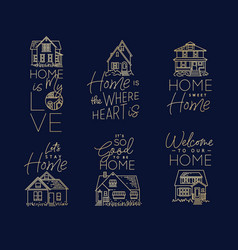 set house sign flat dark blue vector image