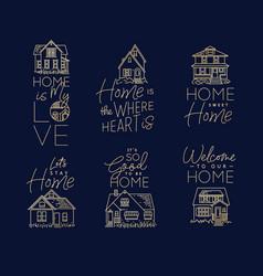 set house sign flat dark blue vector image