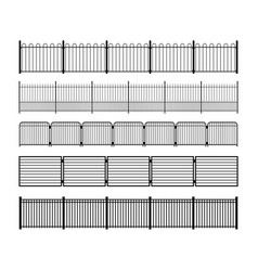 set of different simple modular metal fence vector image