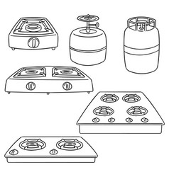 set of gas stove vector image