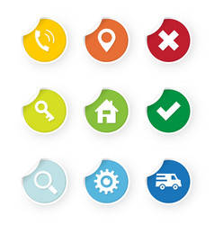 set of web icons colored stickers vector image