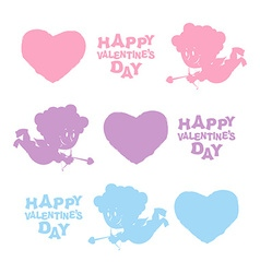 Set Valentines day Heart Cupid and text Cute Angel vector image