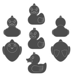Set with a toy rubber duck vector