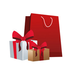 shopping bag with gift boxes icon vector image