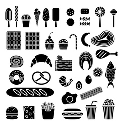 Silhouette of sweets and fast food vector image