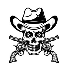 skull in cowboy hat and two crossed pistols vector image