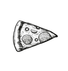 slice delicious pizza with tomatoes salami and vector image