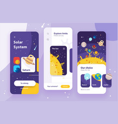 solar system mobile app ui vector image