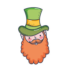 st patricks day leprechaun head character vector image