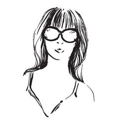 The girl doodles portrait vector