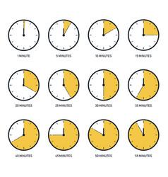 time clock icon set flat design vector image