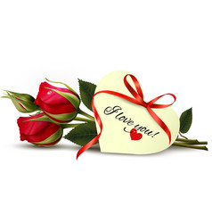 Two red roses with an I Love You note vector image