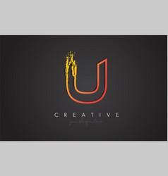 U letter design with golden outline and grunge vector