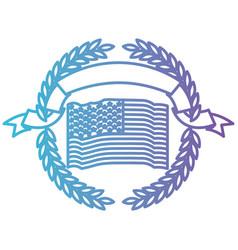 united states flag waving inside of circle olive vector image