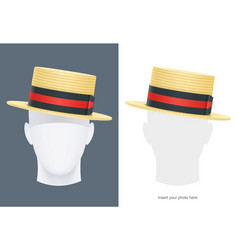 Vintage classic boater straw vector